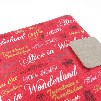 Kindle Fire HDX 8.9 Cover iPad Air Cover iPad 1 iPad 2 iPad 3 iPad 4 Nook HD Plus Cover Case Alice in Wonderland Red Tablet