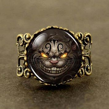 New Alice in Wonderland Cheshire Cat 1pcs/lot brass silver Ring steampunk Jewelry Gift women man mens