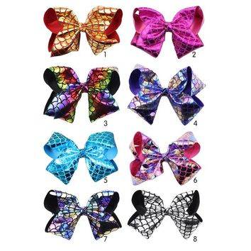 8'' Large fish scale bow hair clip Girl boutique mermaid Hair clip accessories Handmade bow children's hair accessories 8Pcs/lot