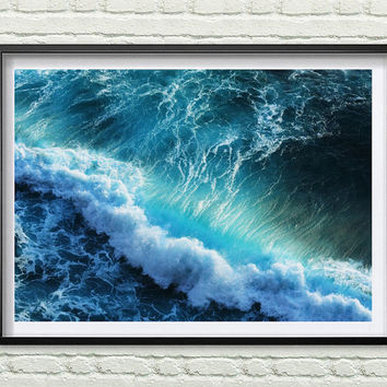 Beach Print, Ocean Waves Decor, Coastal, Wall Art, Turquoise Blue Aqua Abstract, Gift, Ocean Water Print Coastal Wall Art *66*