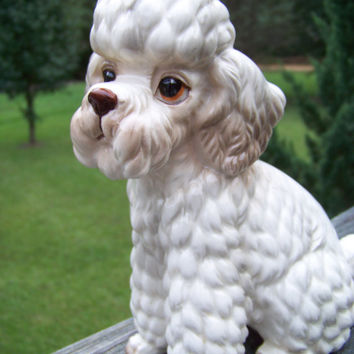 Vintage French Poodle Figurine...Mid Century Ceramic Dog...Kitsch...Canine...Classic Collectible...Retro Fun...Girls Bedroom Decor