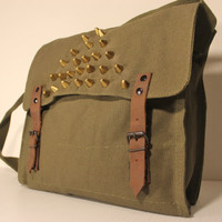 Spike Studded Army Surplus Olive Drab Messenger Crossbody Bag - Free Shipping