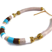 Blue brown necklace. Tribal necklace. African statement necklace. Rope necklace. Boho chic necklace. Tribal jewelry. Ethnic necklace.