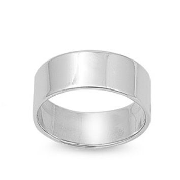 925 Sterling Silver Plain Cigar Band 8MM Ring