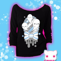 Spooky Memento Kawaii Ghosts Graphic 3/4 Sleeve Wideneck Sweatshirt Pastel Goth Fairy Kei