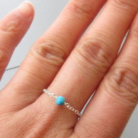 Sterling Silver Turquiose Chain Ring, Blue Ring, Gemstone Chain Ring, Stacking Ring, Dainty Ring, Simple Ring, December Birthstone Ring