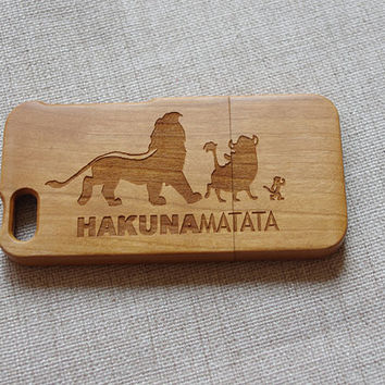 Lion King Wood iphone 5 case,Wooden iPhone 5s case, wood iPhone case with HAKUNA MATATA