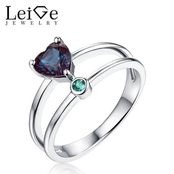 Leige Jewelry Heart Cut Double Band Ring Blue Alexandrite Ring Romantic Gift for Her Sterling Silver Wedding Engagement Rings