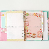 Cute Cafe Kawaii Filofax Refills. Cafe Party Personal Pocket Planner Size. Sweets Themes. Stationary Diary, Organizer Scheduler. Notes.