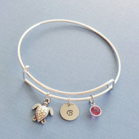 Turtle Bracelet, Tortoise, Initial Bangle,Silver Bangle,Personalized, Expandable,Charm Bracelet,Swarovski Birthstone,BFF Friend,Birthday