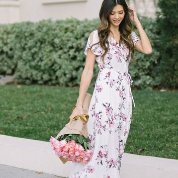 Laura Ivory Floral Wrap Dress