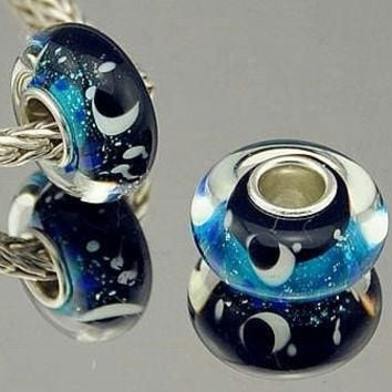 Sky Crescent Moon Stars Murano Lampwork Glass Bead Charm Silver Core For European or p