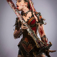Ladies' Leather Red Dragon Slayer Fantasy Armor