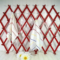 Very Large Vintage Wooden Accordion Lattice Red Rack - Oversized Folding Adjustable Hanging Peg Storage - Retro Mud/Laundry Room Shelving