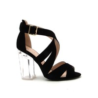 KLOUDE-12A Black Strappy Perspex Heel