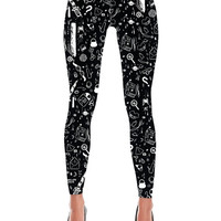 Teen Witch- Printed Stretch Black Leggings S/M or L/XL