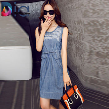Dia  Sleeveless Denim Dress Overalls Summer O-neck Embroidery Tie Pocket Ropa Mujer 2016 Vintage Step Jeans Dresses Women