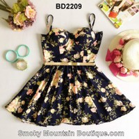 Summer Floral Multi Color Bustier Dress with Adjustable Straps Size S/M - BD2209 - Smoky Mountain Boutique