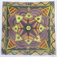 "Hand Painted Silk Scarf. ""At Six AM"". 90x90cm. Yellow, Black, Orange, Brown. Original Design by Ma'at."