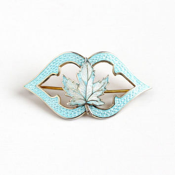 Vintage Sterling Silver Guilloche Enamel Maple Leaf Brooch - 1910s Edwardian Baby Blue & White Canadian Symbol Pin Signed HC Hemming Co
