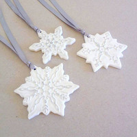 Christmas Ornament, Set of 3, Christmas Decor, Polymer Clay Ornament, Snowflake Ornament