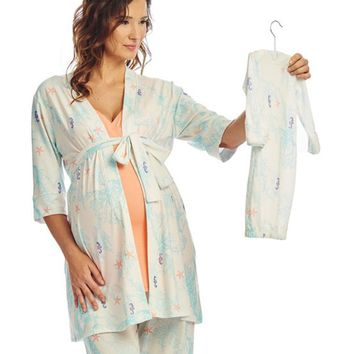 Analise 5-Piece Maternity & Nursing PJ Set in Seahorse