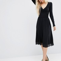 ASOS Midi Wrap Dress with Lace Hem at asos.com