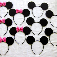 12 ears half Mickey Mouse ears and half Minnie mouse ear headbands LOT pink or red ONLY