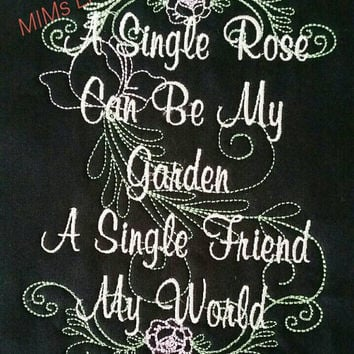 Personalized Unique Embroidered Custom Wall Art A Rose Garden Friend Picture Frame Gift