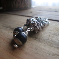 Black Onyx, Bali Style, Tibetan, Temple, Dangle Earrings, Filigree, Black Stone, Silver Earrings