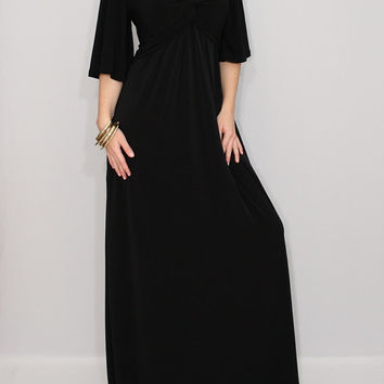 Maxi Dress Black Caftan Dress Prom Dress Maternity Dress