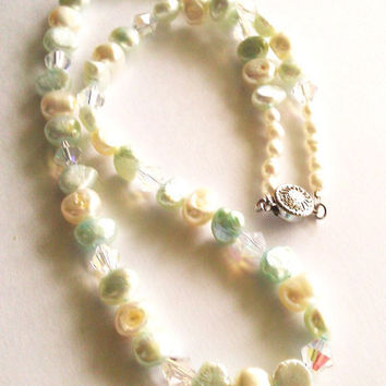 Freshwater Pearl and Crystal Necklace 002 by SonoraKayCreations