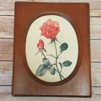 Vintage Wood Framed Rose Print - 1961 - Boho - Feminine - Girly - Floral Print - Flower Print - Powder Room Decor