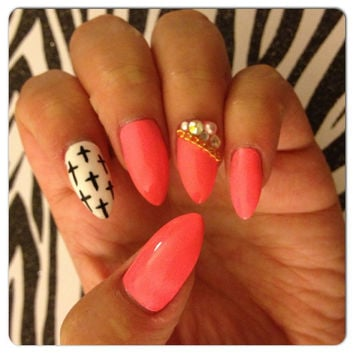 Pink with Black and White Cross Design Stiletto Press-On Nails with Swarovski Crystals & Chain