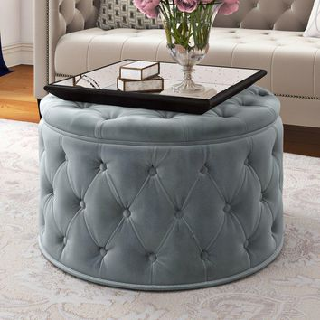 Round Velvet Button-tufted Cocktail Ottoman