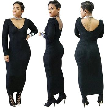 Plunging Long Sheath Dress with Low Back