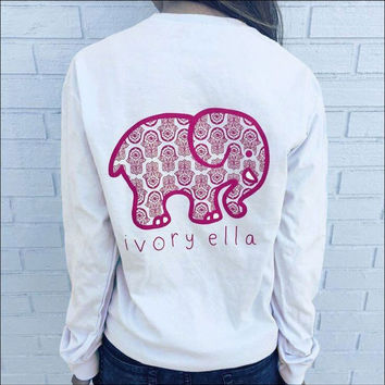 White Elephant Print T-shirt Long Sleeve Women Top