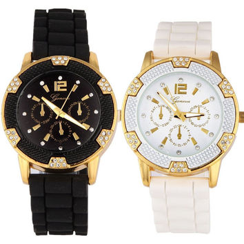 Scolour New 2017 Women Silicone Watches Dress Watches Bling Gold Crystal Watch Luxury Casual Relogio Quartz Watch