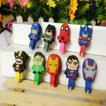 30pcs/lot The Avenger Iron Man Silcone Cable Organizer Bobbin Winder Protector Wire Cord Management Marker Holder