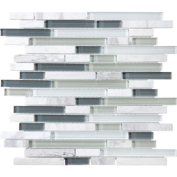 Shop allen + roth Venatino Mixed Material (Stone and Glass) Mosaic Random Wall Tile (Common: 12-in x 12-in; Actual: 11.88-in x 12-in) at Lowes.com