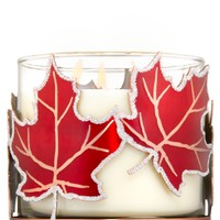 3-Wick Candle Sleeve Red Leaves