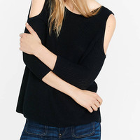 Black Shaker Knit Cold Shoulder Sweater from EXPRESS