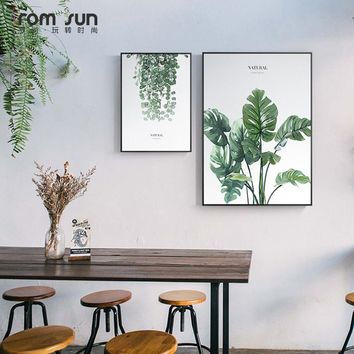 Nordic Style Plants Green Leaves Canvas Paintings Wall Art Posters For Living Room Kids Room Home Decor Modern Girls Love HD