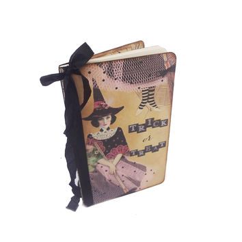 Witch Journal, Trick or Treat, Halloween Journal, Pretty Witch Notebook, Spell Book, Halloween Guest Book, Wicca, Pagan Journal, Witch Diary