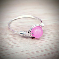 Pink Cats Eye Ring, Silver Wire Ring For A Little Girl, Crystal For Willpower Knowledge Intelligence Good Luck, Happiness And Serenity