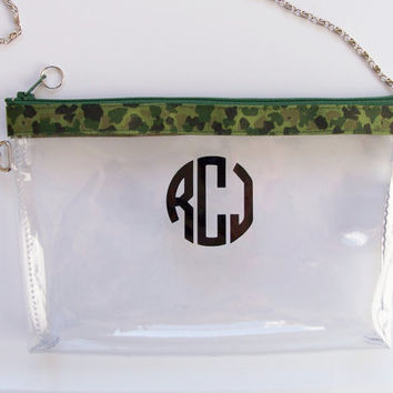 Clear Convertible Transparent Vinyl Monogram Clutch Army Camo Zipper Chain Cross Body/Wristlet/PGA Tour Purse/Pouch/Bag/Wallet/Phone Holder