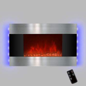 """LED Backlit 36"""" Stainless Steel Wall Mount Heater Fireplace"""