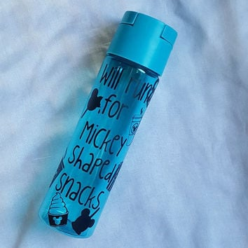 Motivational Water Bottle, Will Run For Disney Treats Water Bottle, Disney Water Bottle, Personalized Water Bottle, Mickey Mouse
