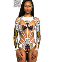 Sexy Off Shoulder One Piece Swimsuit 2017 Long Sleeve African Swimwear Female Cut Out Monokini Swimsuit Swimming Suit For Women free shipping worldwide