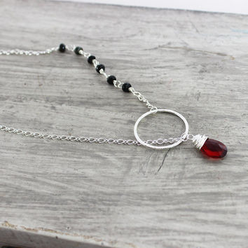 Silver Lariat Necklace, Gemstone Lariat Necklace, Dark Red Necklace, Black Tourmaline Necklace, Circle Necklace, Sterling Silver Necklace